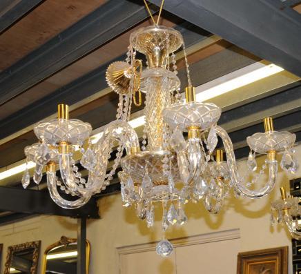 Art Nouveau français Chandelier doré au mercure de la lampe