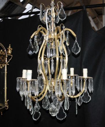 Art Nouveau français Lustre doré au mercure Lampe Cut Cristal