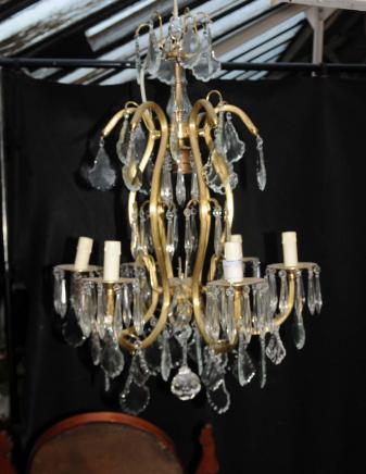 Art Nouveau français Ormolu Lustre Lampes de Cristal