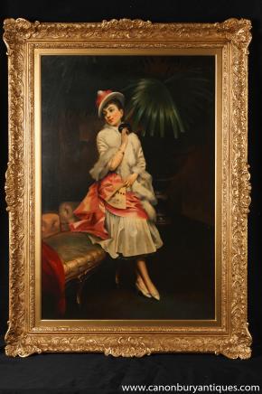 Art déco français Peinture à l'huile Portrait Maiden cadre doré