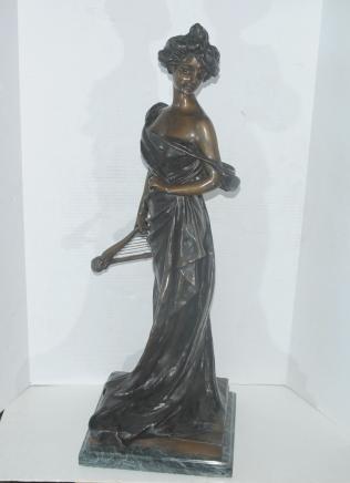 Bronze Harpe Fille Figurine Statue Signé Van Dresteraten Lyre