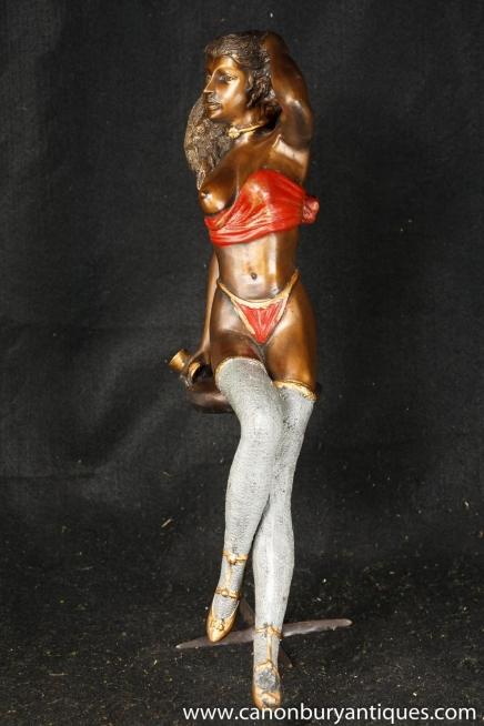 Bronze Semi Nu érotique Femme Figurine Statue Art Sexy
