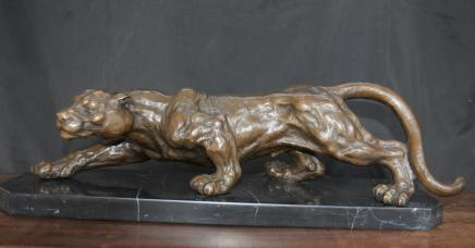 Bronze français casting à l'affût Panther Cat Leopard