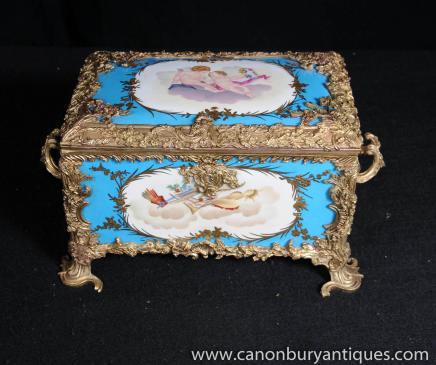 Case Cyan Bleu porcelaine de Sèvres Bijou Boîte à bijoux Poterie français