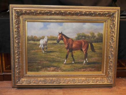 Cheval et poney Peinture à l'huile victorienne pastorale Paysage anglais Art