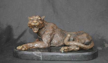 Deco Bronze Cat Leopard Panther Tiger Animaux