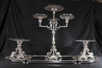 Elkington Silver Plate Centrepiece Cut Glass Bowl