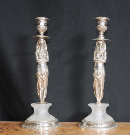 Empire français Silver Plate Pharo Chandeliers Bougies