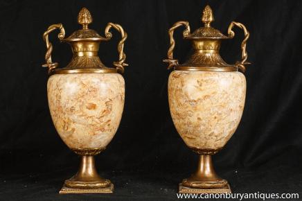 Empire paire marbre Amphora Urnes Vases français Interiors