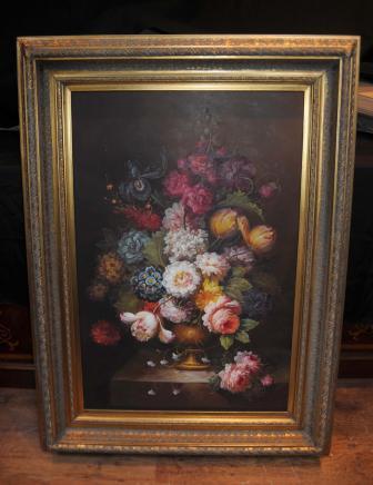 Floral victorien morte Huile Peinture Cadre fleurs doré