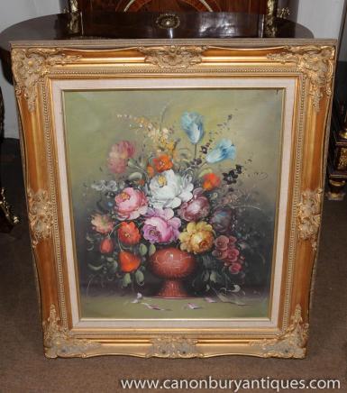 Floral victorien morte Huile Peinture cadre doré Art