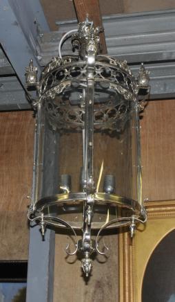 Français Argent Brass Lantern Lampe Lustre