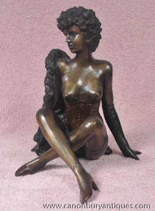 Français Bronze Mouline Rouge Burlesque Dancer érotique Femme Statue Figurine