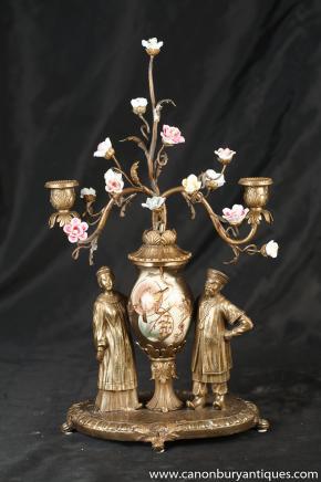 Français Ormolu Art Nouveau chinois Figurine Candelabra Centrepiece Bougie