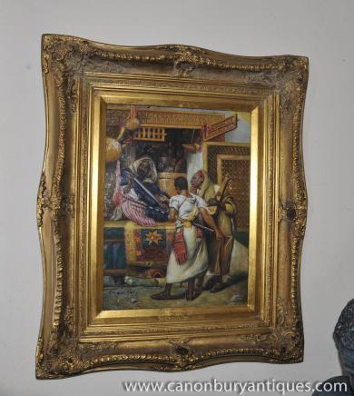 Français arabe Peinture à l'huile Souk Portrait Casbah Scène cadre doré