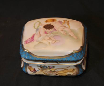 Français porcelaine de Sèvres Bijou Boîte à bijoux