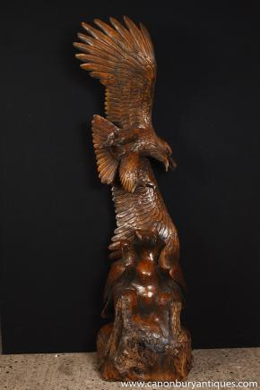 Grand Chêne Sculpté à la main American Eagle Statue proie Oiseau Chauve