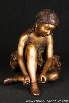 Grand français Bronze Ballerina Statue Fille Degas Figurine