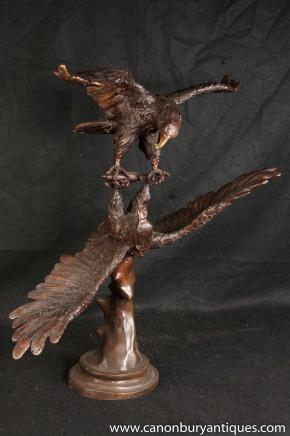 Grande Paire Bronze Fighting American Eagles Bald Eagle Statue Oiseau casting