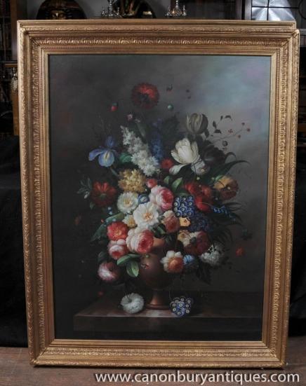 Grande peinture à l'huile florale néerlandaise Encore Cadre Fleurs Vie doré