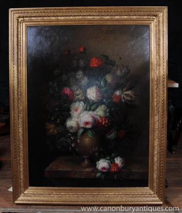 Grande peinture à l'huile florale victorienne Encore Cadre de vie doré