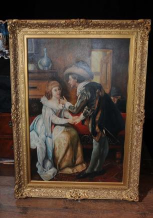 Grande peinture à l'huile hollandaise romantique Couple Portrait cadre doré