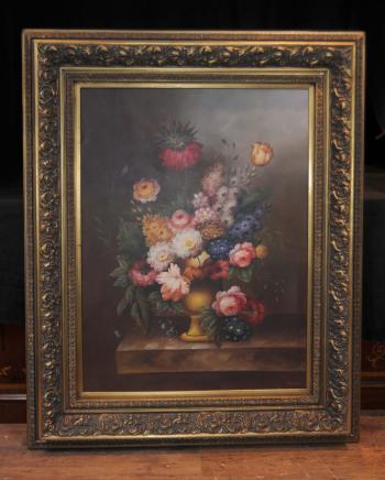 Grande peinture à l'huile néerlandais Floral Still Life Art Cadre doré