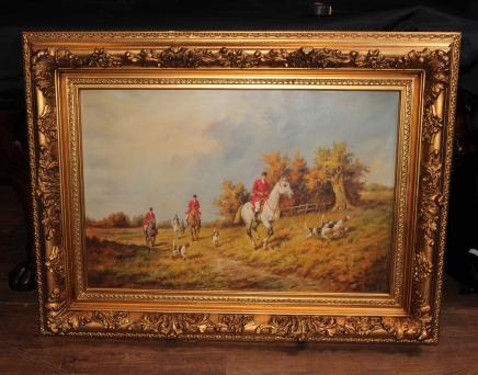 Huile Signé Peinture anglais Hunt Scène Chasse à courre paysage rural Art G. Roy