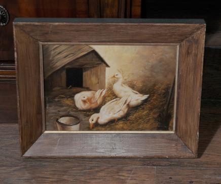 Huile néerlandais Peinture Oies Conseil animale d'oiseau d'art
