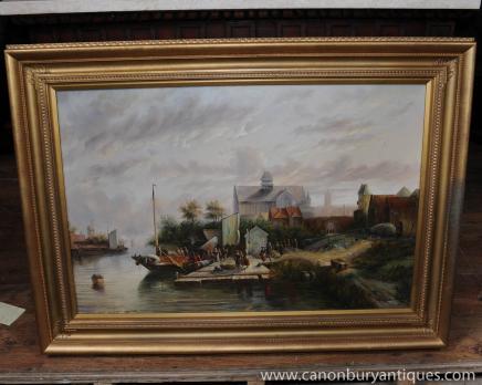 Huile néerlandais Peinture Paysage Bateau Scène rustique Signé cadre doré
