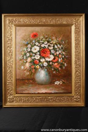 Impressionniste français Gerbe Toujours peinture à l'huile Vie Art cadre doré Signé