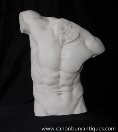 Italienne Statue de pierre nue Torse d'homme Sculpture