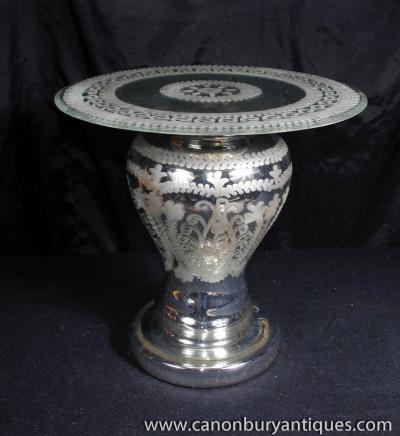 Italienne verre vénitien miroir Table Béquille latérale Tables de cocktail