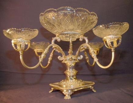 Lave-anglais Sheffield Silverplate épergne Cut verre