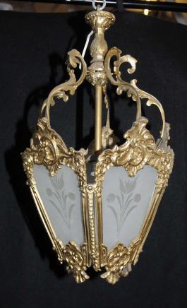 Lustres en bronze doré de style Art Nouveau Lanterne Lampe français