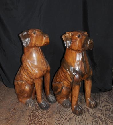 Main Paire sculpté Lifesize bois Doberman Chiens Chien Statue