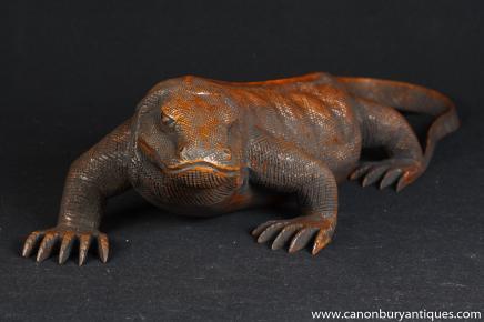 Main française sculpté Sculpture Dragon de Komodo Statue Reptile Lézard