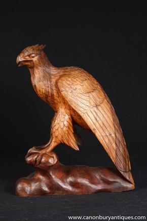 Main française sculpté Sculpture Falcon Oiseau Statue