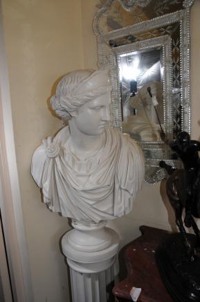Marbre Résine Buste romain Maiden impératrice Statue Classique Art