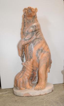 Marbre sculpté Lifsize Ours et CUB Ours