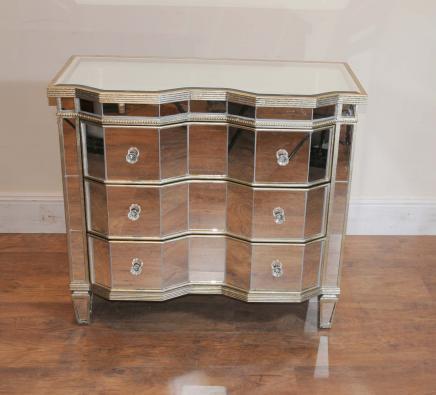 Miroir poitrine tiroirs froissée Art Déco Cabinet