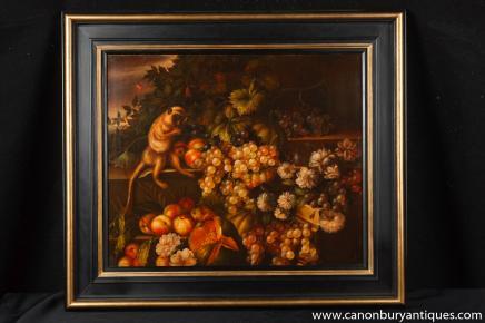 Néerlandais morte Huile Peinture Cadre raisins singe Art Signé