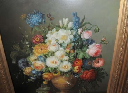 Néerlandais morte Huile Peinture Floral Frame Vases doré