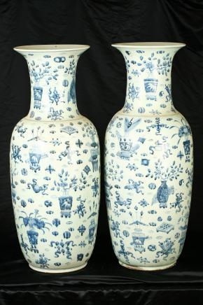 Paire 3ft Nankin chinois poterie urnes en céramique architecturale