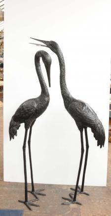 Paire 5 ft Cigognes bronze japonais Flamingo Stork