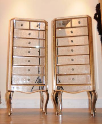 Paire Art Déco Miroir poitrine tiroirs hauts garçons miroir