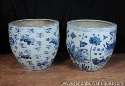 Paire Bleu Blanc Porcelaine Planters Bols Nankin poterie chinoise