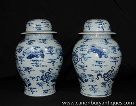 Paire Bleu Blanc chinois en porcelaine à couvercle Urnes Nankin Poterie