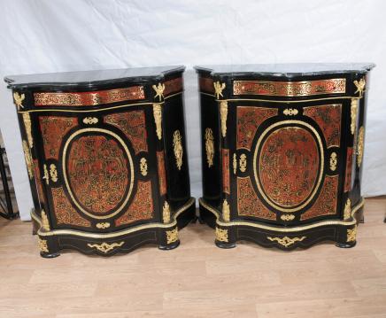 Paire Boulle Serpentine Armoires Credenzas Bhul Inlay Louis XV Meubles
