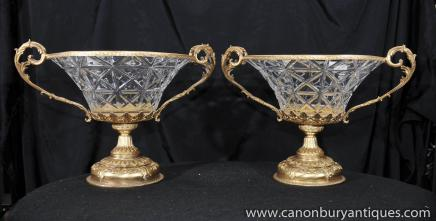 Paire Cristal français Empire Urnes Compotiers Ormolu